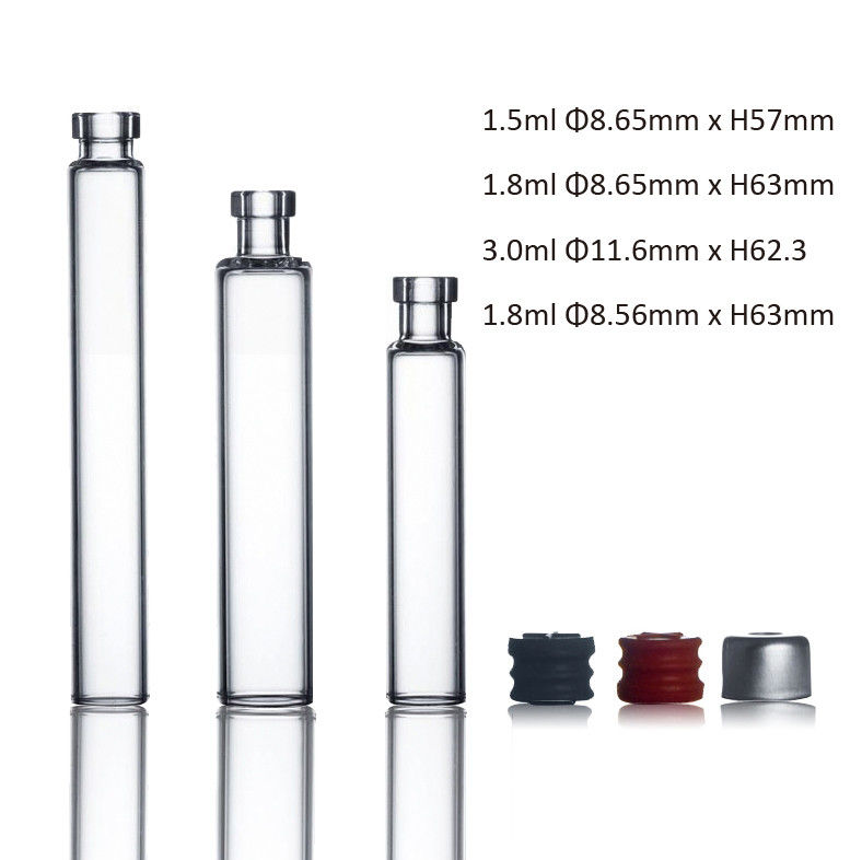 1.5ml 1.8ml 3ml 4ml Glass cartridge for use in sterile medicine production with free sample